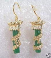 free shipping BEAUTIFUL NOBLEST GREEN JADE GILD DRAGON EARRING 2pc/lot fashion jewelry