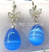 free shipping Christmas Asia jewelry beautiful blue ople earrings pair 2pc/lot fashion jewelry