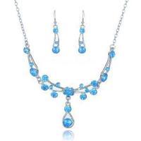 6 Colors Waterdrop Rhinestone Necklace Alloy Earrings Sets Women Wedding Jewelry Set Girl Acrylic Party Dress Jewelry B19793
