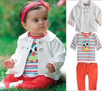 TZ-225 new Original Carters baby girl Cartoon owl stripes clothing set kid coat+T shirt+pants 3pcs suit children clothes retail