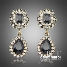 2014 New Sexy Charm Elegant Fashion Earrings Vintage Gold Luxury Crystal Statement Earrings Factory