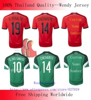 A+++ 100% Thailand 2014 MEXICO Fan Issue Outdoor Red Soccer Jersey Chicharito Dos Santos Peralta Guardado Moreno Marquez