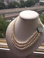 wholesales designer Unique 3row white freshwater pearl beads shell clasp necklace fashion jewelry,gift