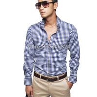 Men's 100% cotton plaid shirt slim long-sleeve shirt 2496