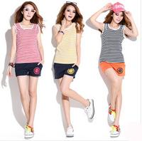 Summer hot selling woman outdoors tracksuits clothing set,fringe stripe t-shits+short pants sport suit women brand jogging