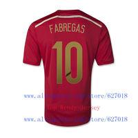 A+++ 10# Fabregas New Kit Spain Brasil 2014 World Cup Futbol Soccer Jersey Camisetas Sweatshirt Sports T Shirt Top Men Thailand