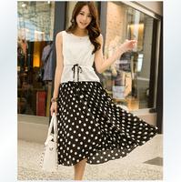 Free shipping, 2014 summer new Korean women dress chiffon pleated stitching Polka Dot Dress Bohemian dress sundress