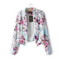 Free shipping!2014 new arrived Fashion designer female slim blazer outerwear fancy blazer flower print jackets suit Casual