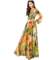 2014 Europe fashion flower print long dress women's long sleeve bohemia chiffon deep v-neck floor length plus size evening gowns