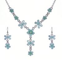 Fashion Butterfly Women Wedding Jewellery Set Alloy Necklace Flower Earrings Sets Girl Acrylic Party Dress Jewelry B19786