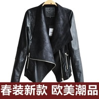 Women PU leather cardigan outwear coat motorcycle jacket Lady all match slim fit leather round collar coat
