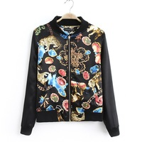 Free shipping!autumn and winter women fashion leisure clothes leopard patchwork black jacket baseball uniform outerwear casual