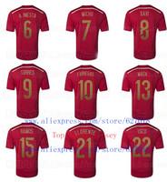A+++ Top Men Thailand 2014 Silva MARTINEZ Arbeloa Pique Sergio Ramos Spain New Soccer Jersey Shirt Custom Mata Torres