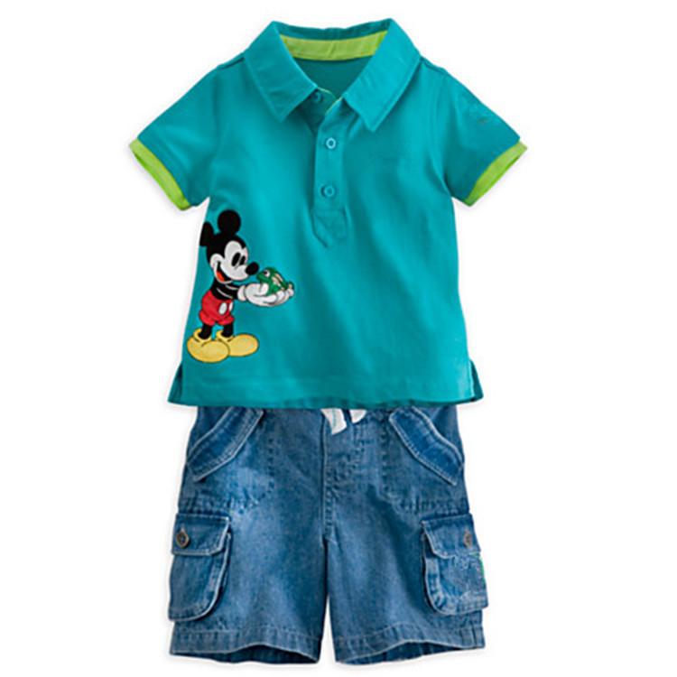 Mickey poloshirts anzug mit Jeans shorts 3~6age zwei- stück anzug 2014 Sommer junge anzüge für kinder bekleidung