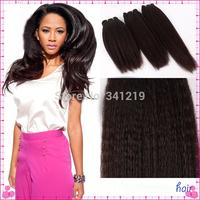 mac makeup wholesale 6A++ Brazilian Virgin Human Hair Extension Afro Kinky Straight Coarse Yaki Human Hair Weave #1B Off Black
