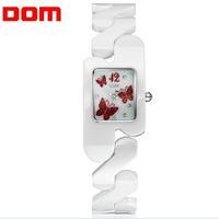 DOM Luxury Ladies Wrist Watch Quartz Hours Best Fashion Rhinestone CZ White Ceramic Band Butterfly Elegant Classic T-570