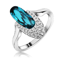 Lovely Shoes Design Austrian Blue Crystal Ring White Gold Plated Women's Charm Jewelry Free Shipping (CR001)