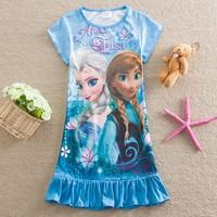 4pcs/lot Wholesale Frozen Elsa Anna Dress Summer Casual Baby Sundresses Kids Clothes Girls 2014 Toddler Clothing Children's Wear