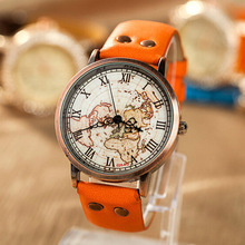 2014 new fashion watch and jewelry PU bands orange color world map printing glass dial unisex wrist watches