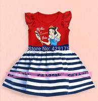 Retial 2014 New Girl Frozen Dress girl Snow White Stripe tutu dress kid summer princess party dress