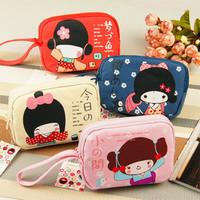 New 2014 women female fashion double zipper canvas square character phone bag cute coin purse with a handle carteira feminina