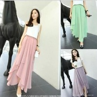 Korean version of the ultra-cents irregular hem side slit chiffon maxi skirt
