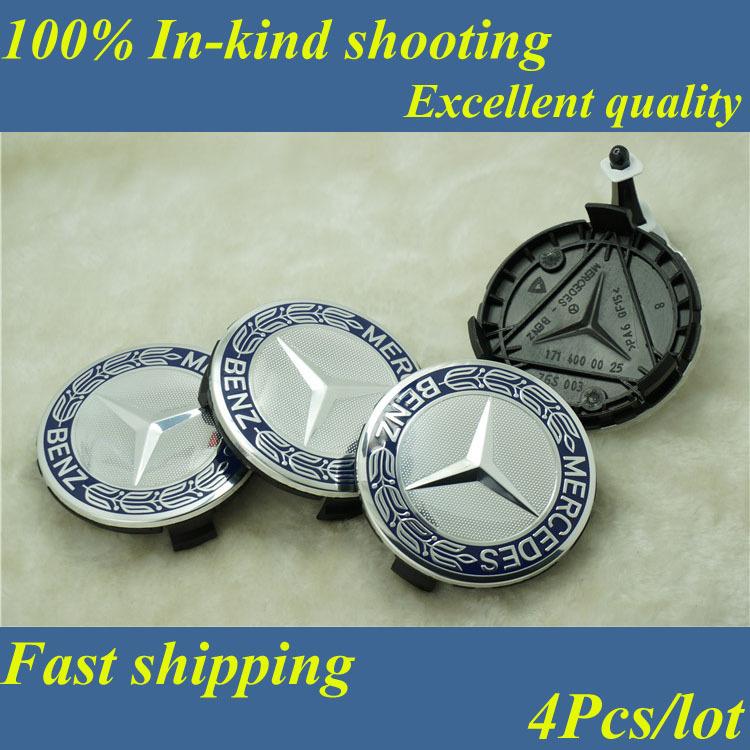 [Good quality] Fast ship 4pcs*75mm Blue / Black Mercedes Benz wheel Hub Cap Emblem Badge A1714000025 Classic Mercedes Center