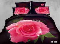 Cheap Home Textile Bedding Sets 100% Cotton 3D Reactive Printed Flower Bed Set Duvet Cover Flat Bed Sheet Pillow Cases King Size