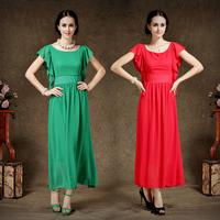 2014 summer new Patty evening long dress Solid color chiffon dress Feifei flounced sleeves  Beach dress