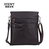 100% Genuine Leather Men's Messenger Bags Casual Portfolio Business Bag Men's Leather Briefcase Shoulder Bag 2014 Free Shipping