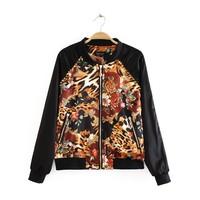Free shipping!2014 new arrived autumn fashion top for shop vintage leopard print rivet patchwork jacket short jacket female