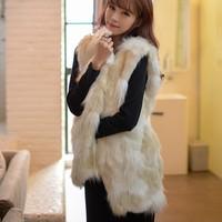 fur vest coletes femininas 2014 sweet all-match fashion medium-long faux vest outerwear vest outerwear