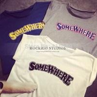 Rockrio Japan letter print short design vest loose short sleeve t-shirt
