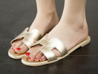 Retail H slippers 2014 women's slippers shoes summer flat heel genuine leather word slippers women flatbottomed