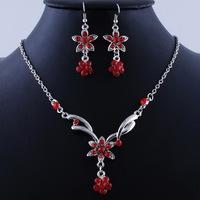 6 Colors Acrylic Jewelry Sets Alloy Flower Necklace Earrings Set Rhinestone Wedding Set C19817