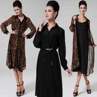 New Arrival 2014 Women Summer Casual Fashion  Long Sleeve Leopard Patchwork Plus Size Bohemian Dresses