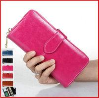 Retro 2014 Oil Wax Cowhide Wallet 100% Genuine Leather Women Long Ladies' Wallets Designer Money Clip Zipper Purse Credit Card