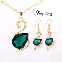Women's 18k Yellow Gold Filled Emerald/Ruby/White Sapphire Austrian Crystal Jewelry Sets Chain Necklace+Earrings Free shipping