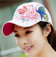 2014 new Butterfly Embroidery flat-topped hats fashion casual hat Women's cap Millinery sun caps Spring Summer Free Shipping