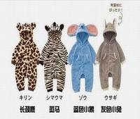 Brand  2014 New Fashion Baby Romper Lovely Animal Design  Leopard Zebra Elephant  Newborn Fleece Autumn Warm Baby Clothes
