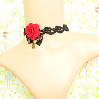 Red flower fabric design women accessories wholesale indian jewelry black choker necklace Free shipping