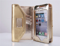 Michaels 100% Genuine leather Wallet Purse Pouch Case Bag for iphone 4 4S 5 5G 5S with retail box   free shipping