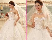Free ship Wedding dress Korean version of the new 2014 summer diamond bridal white Slim