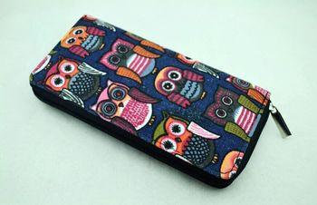 Дамы женщин сова дизайнер холст большой кошелек кошелек девушки портмоне мешка сумки бесплатная доставка