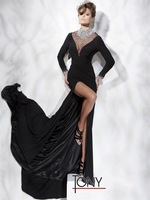 2014 New Arrival Luxury  Black Long Sleeve High Neck Crystal Beaded Watteau Train Front Spilt Party Gown Formal Evening Dresses