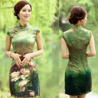 2014 fashion autumn silk print elegant vintage slim short Cheongsams dress,Women printed dresses//free shipping