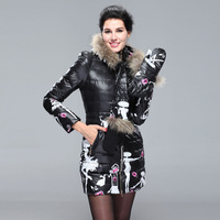 2014 new women's down jacket raccoon tops Korean Slim thin fresh gloves jacket and long sections