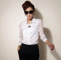 2014 Women Ladies Western Design Long Sleeve Turn-down Collar Chiffon Blouse Tops Casual Sheer Solid Sexy Black White Shirt