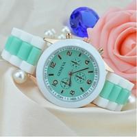 Women Jelly Geneva Quartz Watch Patchwork Silicone Strap Alloy Case 16 Colors 2014 New Fashion Relogio Feminino Dress Wristwatch