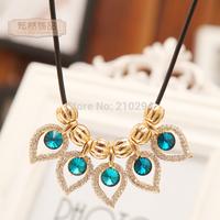 Fashion women necklace cutout teardrop drop gem short design necklace popular America and Europe summer jewelry accessories